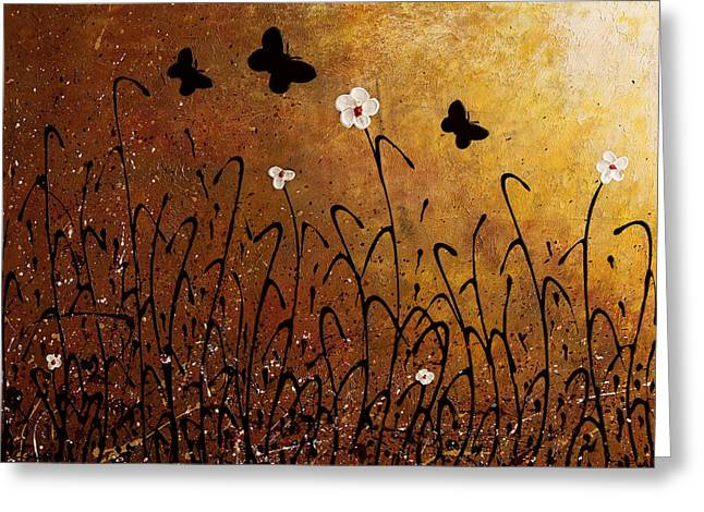 Butterflies Landscape Greeting Card by Carmen Guedez