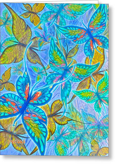 Greeting Card featuring the mixed media Butterflies On Blue by Teresa Ascone