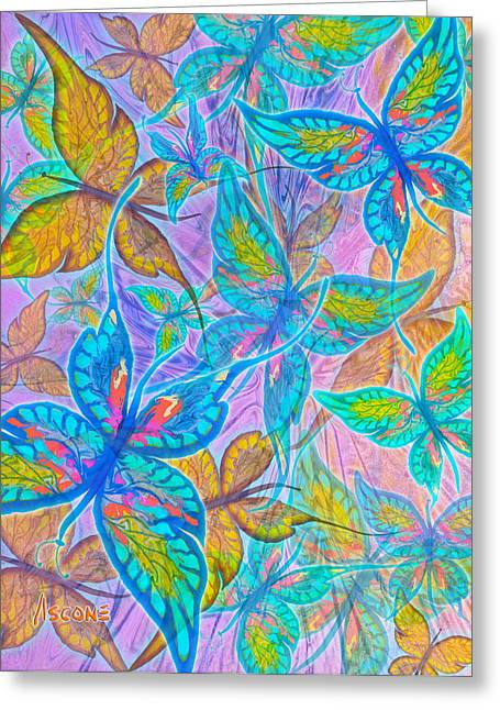 Greeting Card featuring the mixed media Butterflies On Lilac by Teresa Ascone