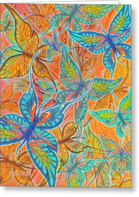 Greeting Card featuring the painting Butterflies On Tangerine by Teresa Ascone