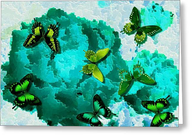 Butterflies On Teal Roses Greeting Card by L Brown