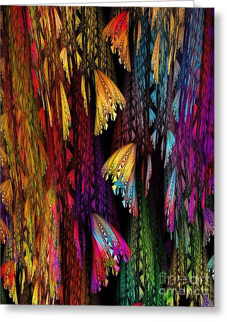 Butterflies On The Curtain Greeting Card by Klara Acel