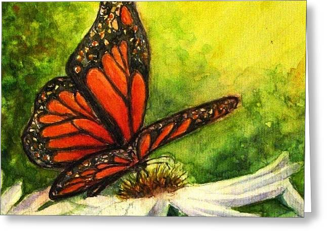 Butterfly And Daisy Greeting Card by Hazel Holland