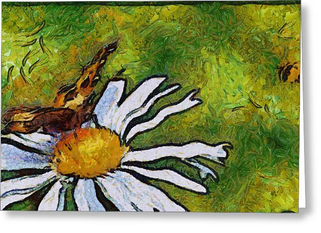 Greeting Card featuring the painting Butterfly And Flower by Georgi Dimitrov