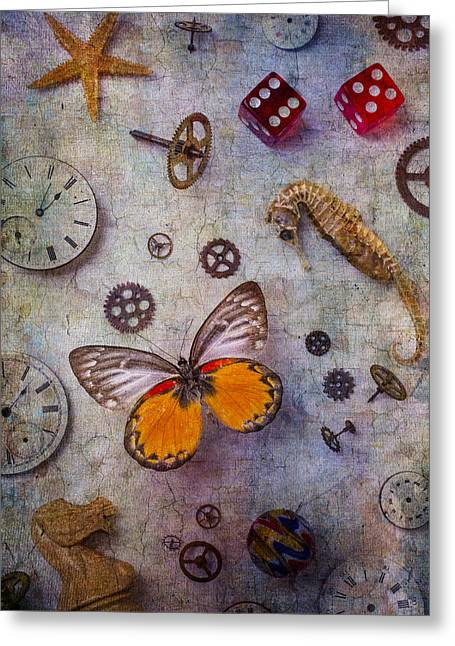 Butterfly And Seahorse Greeting Card by Garry Gay