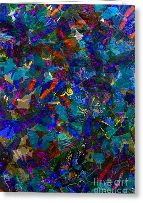 Greeting Card featuring the photograph Butterfly Collage Blue by Robert Meanor