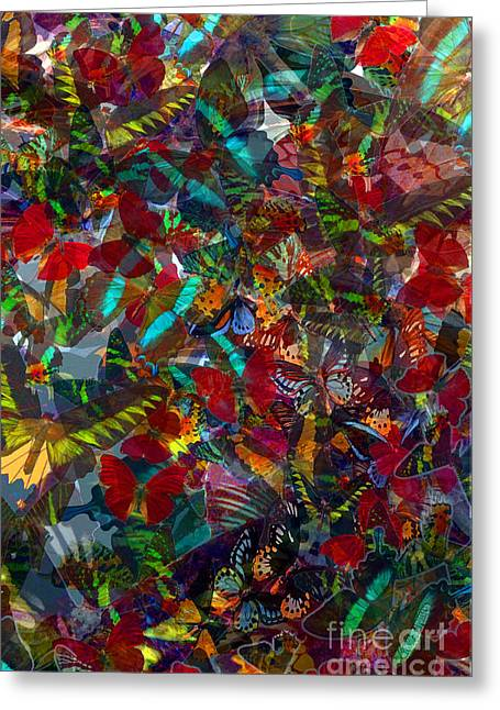 Greeting Card featuring the photograph Butterfly Collage Red by Robert Meanor