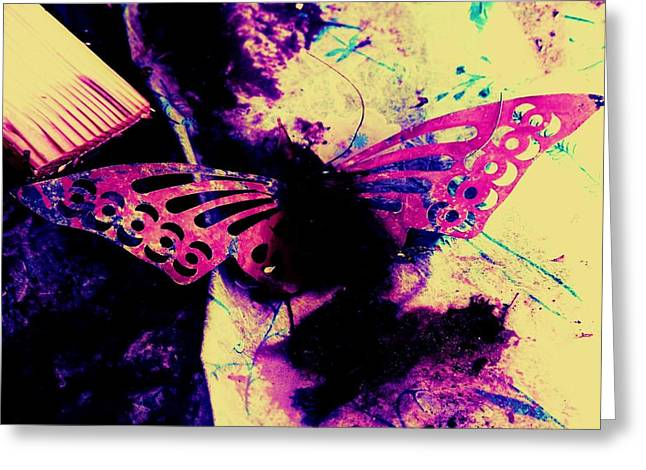 Greeting Card featuring the photograph Butterfly Disintegration  by Jessica Shelton