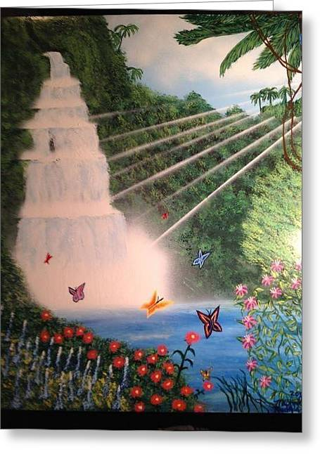 Greeting Card featuring the painting Butterfly Falls by Michael Rucker