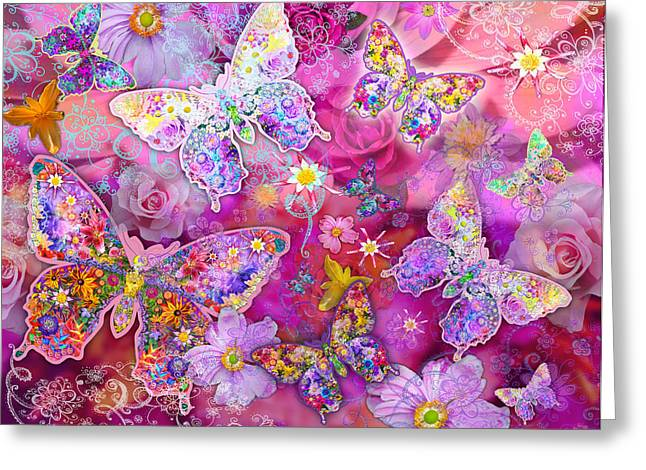 Butterfly Flower Land Greeting Card by Alixandra Mullins