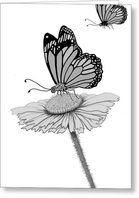 Greeting Card featuring the digital art Butterfly Friends by Carol Jacobs
