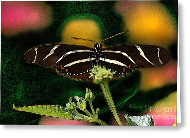 Greeting Card featuring the digital art Butterfly Garden 06 - Zebra Heliconian by E B Schmidt