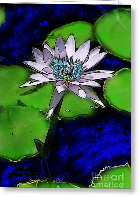Greeting Card featuring the digital art Butterfly Garden 10 - Water Lily by E B Schmidt