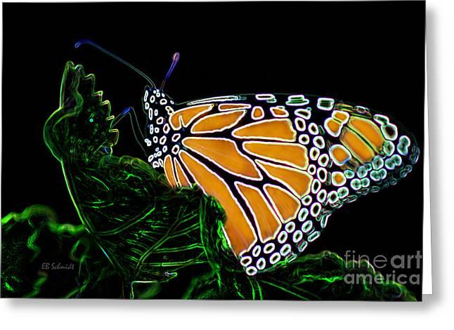 Greeting Card featuring the digital art Butterfly Garden 12 - Monarch by E B Schmidt