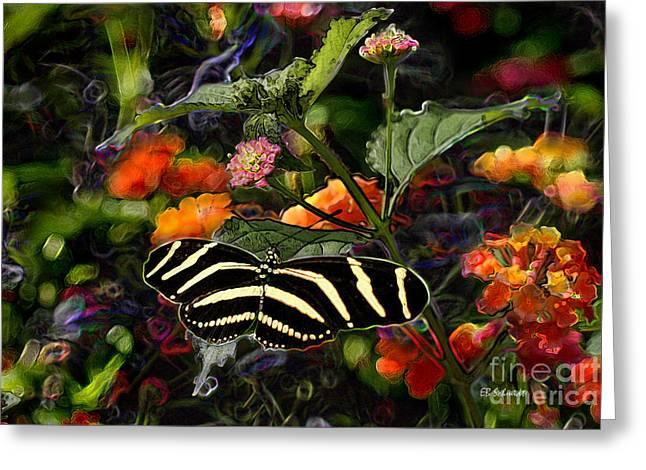 Greeting Card featuring the digital art Butterfly Garden 14 - Zebra Heliconian by E B Schmidt