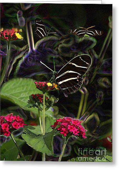 Greeting Card featuring the digital art Butterfly Garden 19 - Zebra Heliconian by E B Schmidt