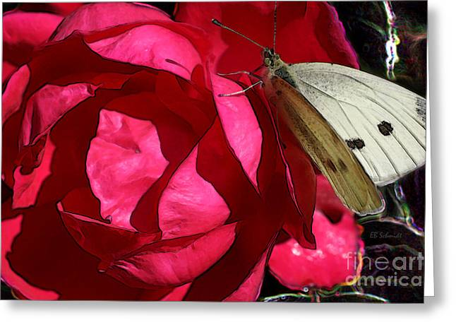 Greeting Card featuring the digital art Butterfly Garden 21 - Cabbage White by E B Schmidt