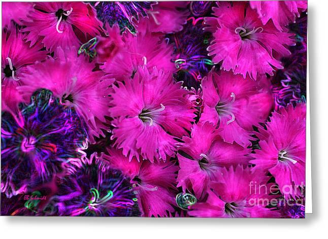 Greeting Card featuring the digital art Butterfly Garden 23 - Carnations by E B Schmidt