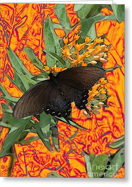 Greeting Card featuring the digital art Butterfly Garden 25 - Spicebush Swallowtail by E B Schmidt