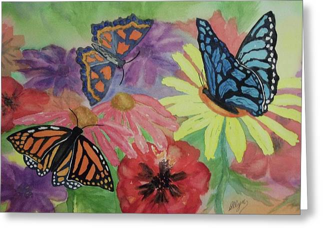 Greeting Card featuring the painting Butterfly Garden by Ellen Levinson