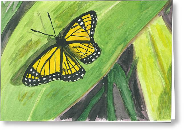 Greeting Card featuring the painting Butterfly In Vermont Corn Field by Donna Walsh