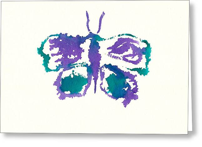 Greeting Card featuring the painting Butterfly Inkblot by Frank Bright