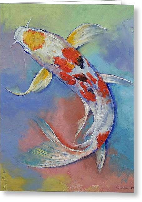 Butterfly Koi Fish Greeting Card by Michael Creese