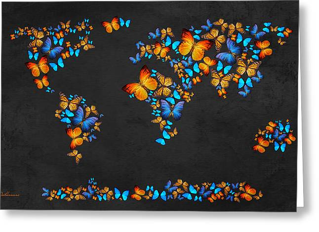 Butterfly Map Greeting Card by Mark Ashkenazi