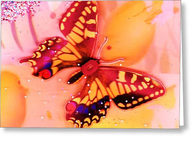 Butterfly Meets Fish Greeting Card by Anne-Elizabeth Whiteway