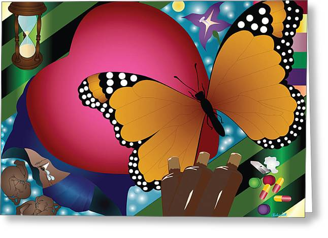 Butterfly Monk Greeting Card by Charles Smith