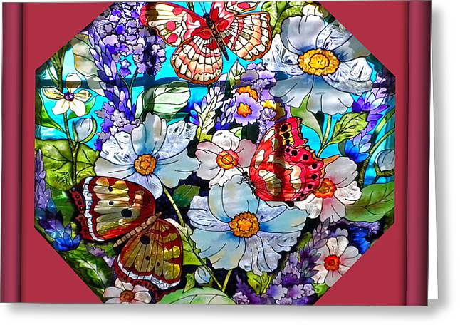 Butterfly Octagon Stained Glass Window Greeting Card by Thomas Woolworth
