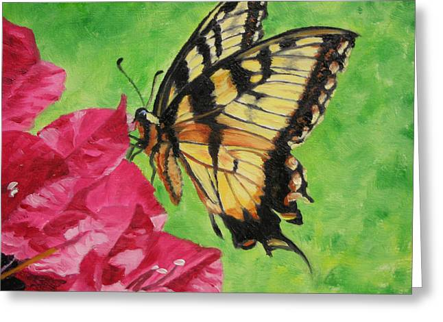 Greeting Card featuring the painting Butterfly On Bougainvillea by Jimmie Bartlett