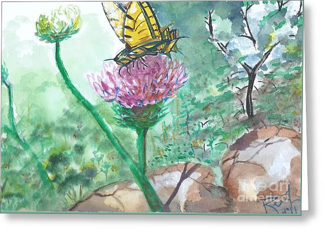 Butterfly On Flower  Greeting Card