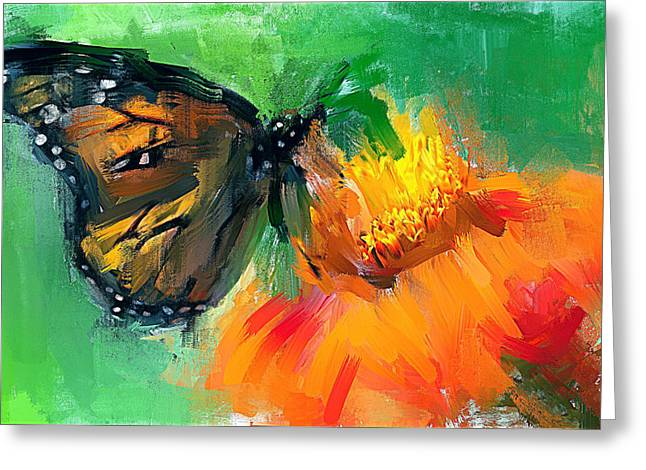 Butterfly On Flower Greeting Card by Yury Malkov