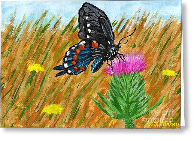 Butterfly On Thistle Greeting Card by Vicki Maheu