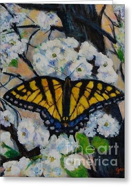 Butterfly On Tree Greeting Card by Jana Baker