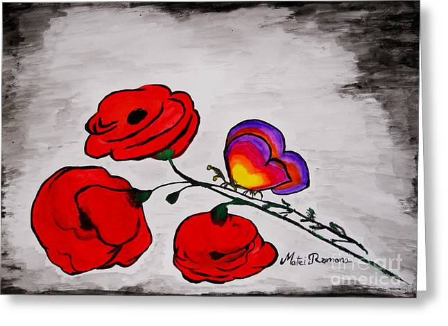 Greeting Card featuring the painting Butterfly Poppies by Ramona Matei