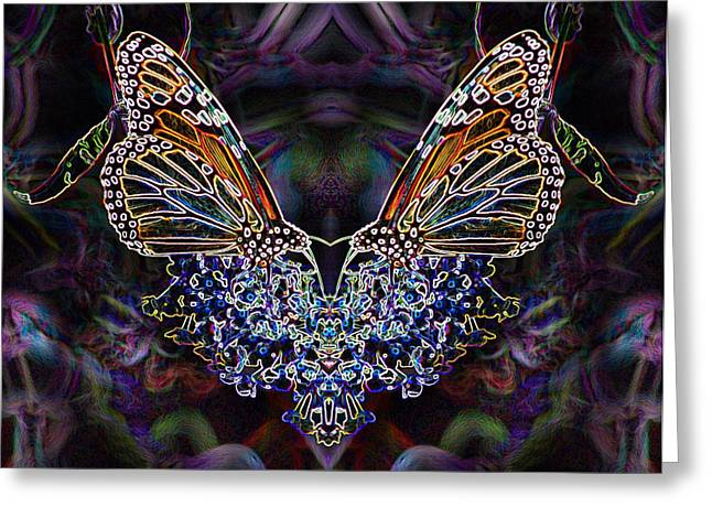 Greeting Card featuring the digital art Butterfly Reflections 01 - Monarch by E B Schmidt