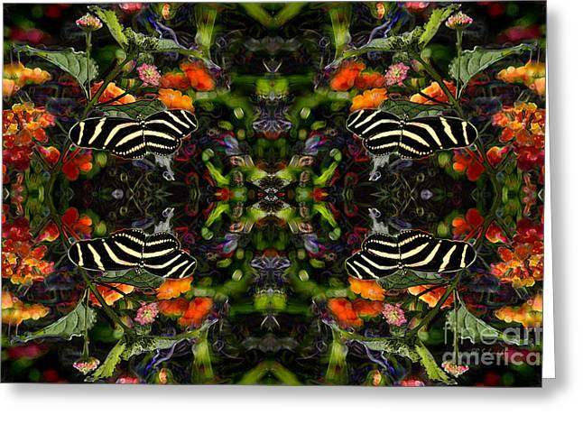 Greeting Card featuring the digital art Butterfly Reflections 03 - Zebra Heliconian by E B Schmidt