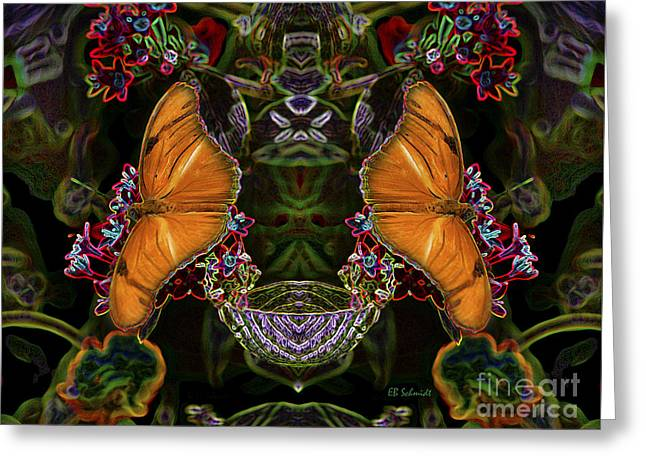 Greeting Card featuring the digital art Butterfly Reflections 04 - Julia Heliconian by E B Schmidt