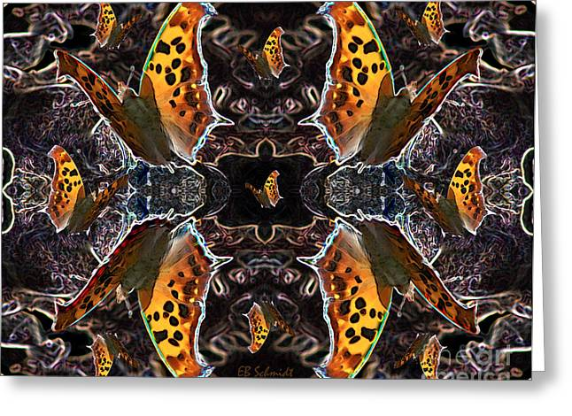 Greeting Card featuring the digital art Butterfly Reflections 05 - Eastern Comma by E B Schmidt