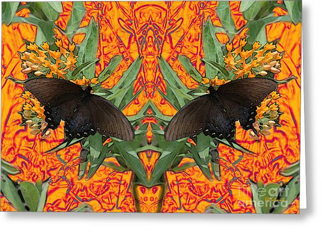Greeting Card featuring the digital art Butterfly Reflections 06 - Spicebush Swallowtail by E B Schmidt