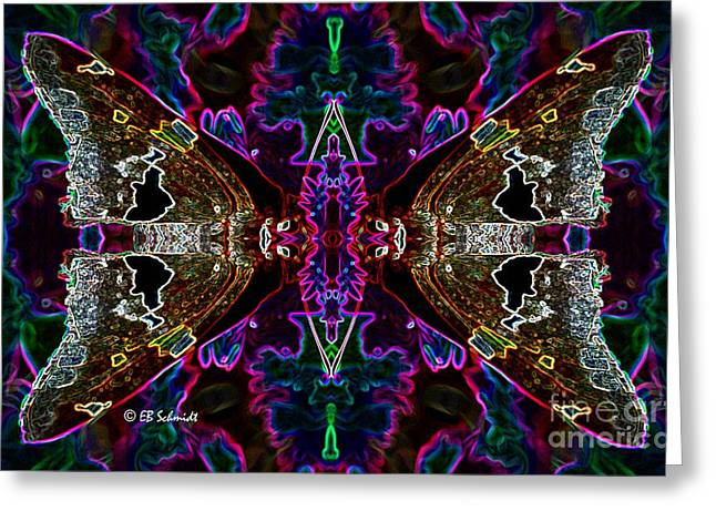 Greeting Card featuring the digital art Butterfly Reflections 08 - Silver Spotted Skipper Reflections by E B Schmidt