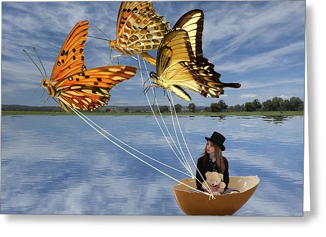 Butterfly Sailing Greeting Card by Linda Lees