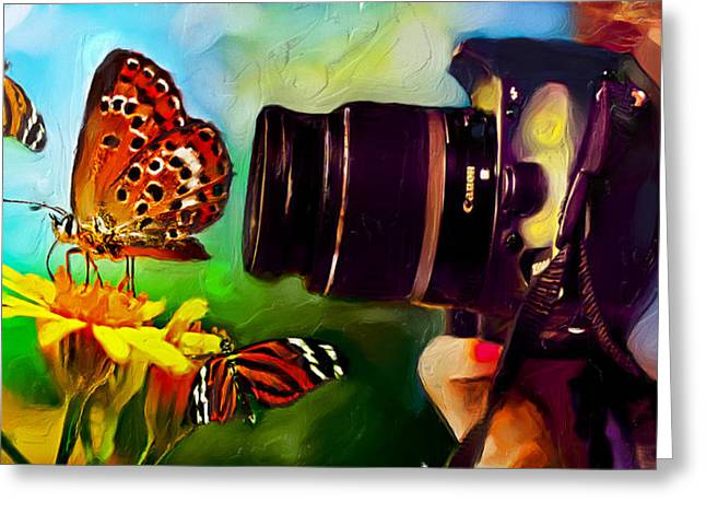 Greeting Card featuring the painting Butterfly Shooter by Ted Azriel