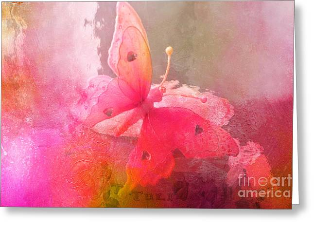 Butterfly Surreal Fantasy Painterly Impressionistic Pink Abstract Butterfly Fine Art  Greeting Card by Kathy Fornal