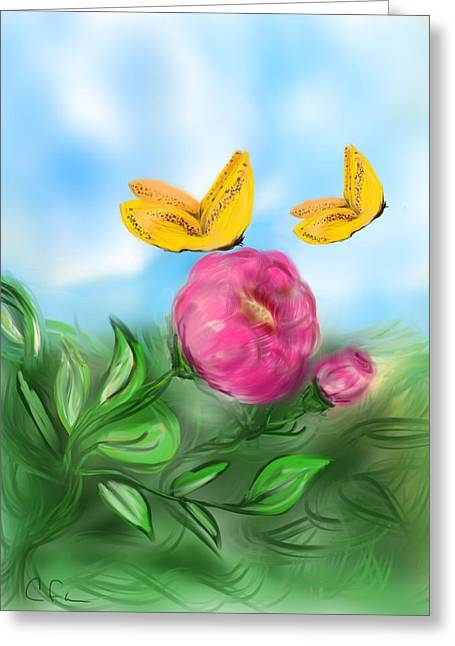 Greeting Card featuring the digital art Butterfly Twins by Christine Fournier