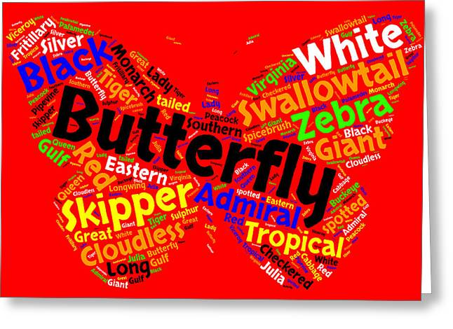 Butterfly Word Cloud Greeting Card by Bruce Nutting