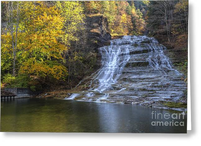 Buttermilk Falls Autumn Greeting Card by Colin D Young