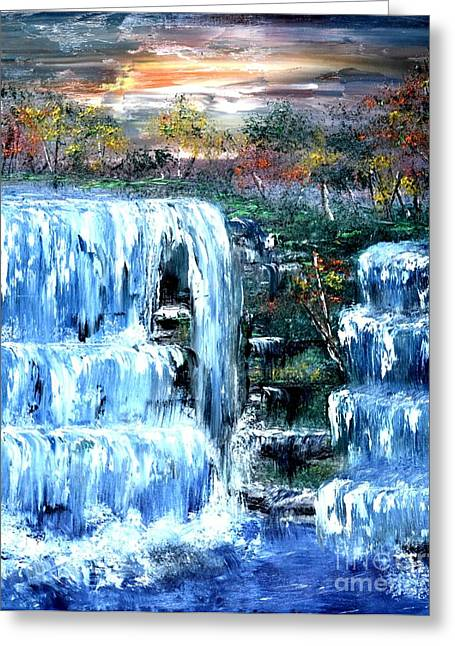 Greeting Card featuring the painting Buttermilk Falls by Denise Tomasura